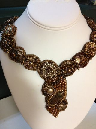 Brown beaded embroidery necklace